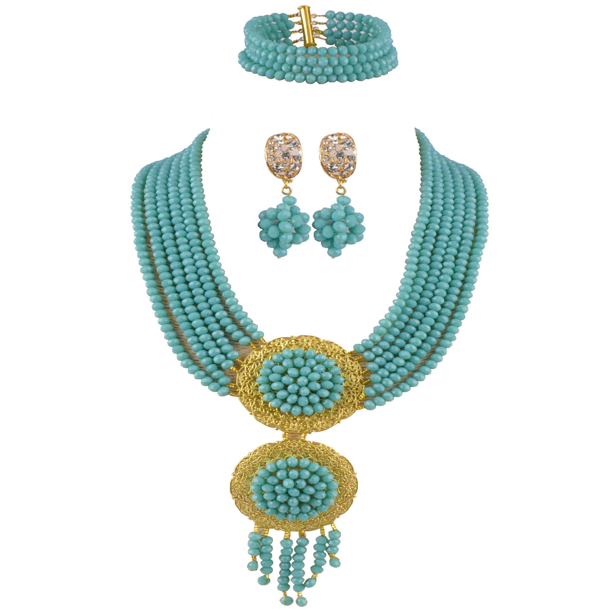 aczuv Crystal Beaded African Beads Jewelry Set 2017 Nigerian Wedding Bridal Party Jewelry Sets