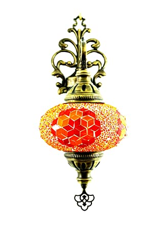 Homcom Applique Murale En Verre Style Oriental Et Mosaique Orange