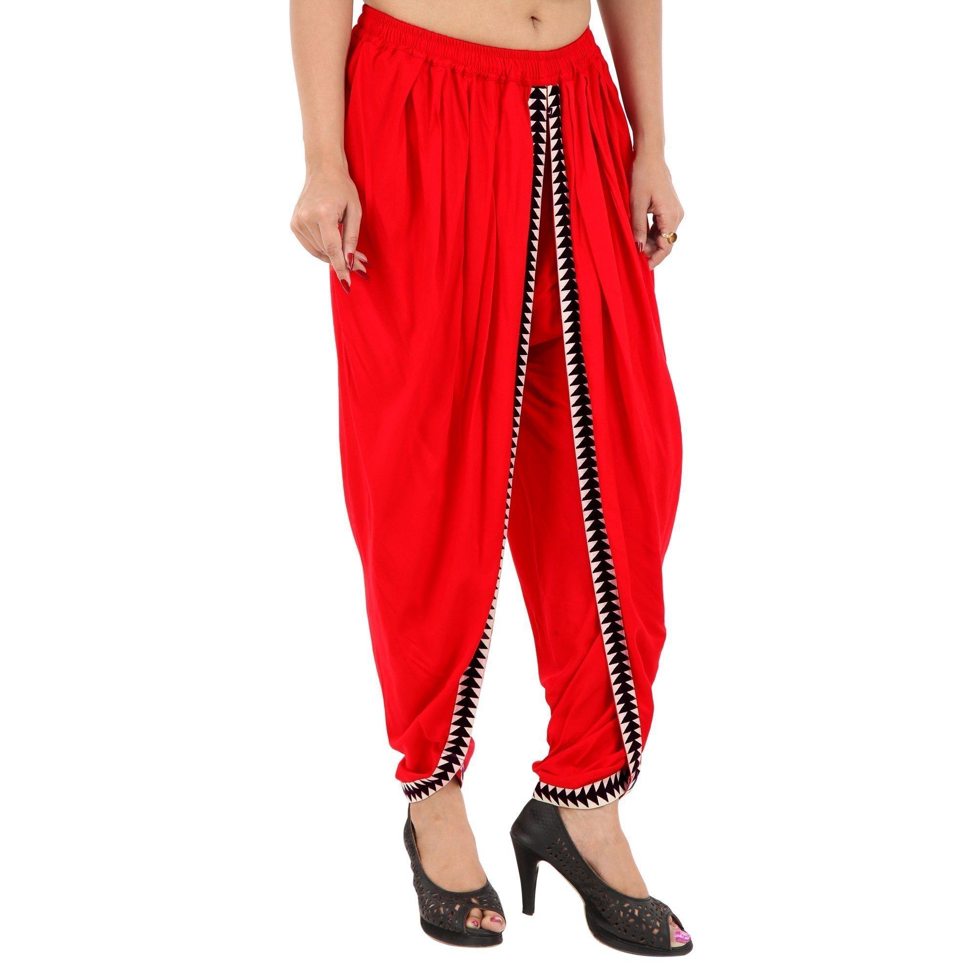 Elegant and Classic Red Color Rayon Dhoti Pant, Patiala Dhoti Salwar, Dhoti Trousers for Women, Girls