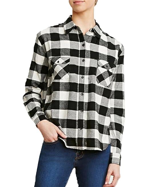 ZANZEA Camisa Blusa Cuadrada Casual Elegante Oficina Algodón Botón Mangas Largas para Mujer Blanco y Negro