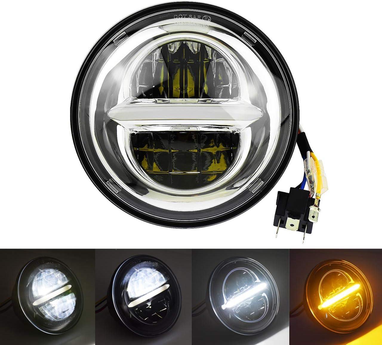 YUXIAOYU Motorrad 5,75 Zoll Projektor Scheinwerfer f/ür Harley Outdoor wasserdichte LED-Scheinwerfer Abblendlicht Tagfahrlicht