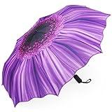 Violet Daisy Umbrella, PLEMO Automatic Folding Travel Umbrellas Compact Floral Parasol Auto Open and Close, Purple [Lifetime Warranty]