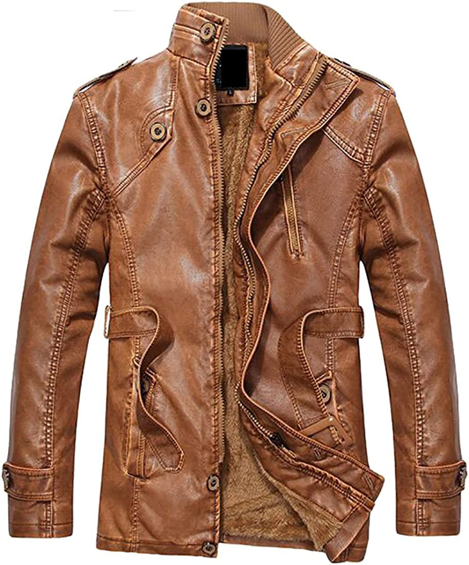 xtsrkbg Mens Vintage Stand Collar Zip-Up Distressed Pu Leather Jacket