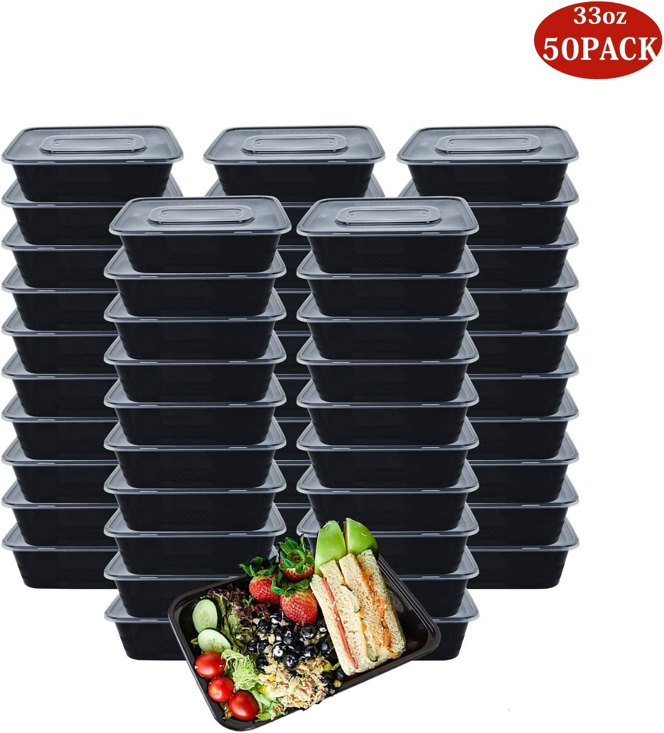 HOMEE Meal Prep Containers 50 Pack/ 33 oz Reusable Food Storage Containers Bento Lunch Box with Lids Made of Plastic, Stackable, Microwavable, Freezer and Dishwasher Safe Use