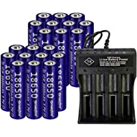 20 PCS of Button Top,18650-Rechargeable-Batteries,Yellow,9900mAh 3.7V Li-ion,65mmX18mm,With 2 PCS 2 Slots USB Universal Smart Battery Charger,For 18650 Flashlight headlight /& Electronic Tools