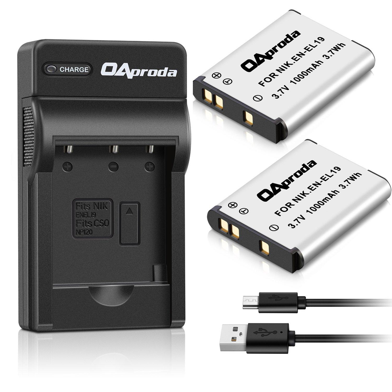 OAproda 2 Pack EN-EL19 Battery and Rapid USB Charger for Nikon Coolpix S32, S33,S100, S2800, S3100, S3200, S3300, S3500, S3600, S3700, S4100, S4200, S4300,S5200,S5300,S6500, S6800,S7000 Digital Camera
