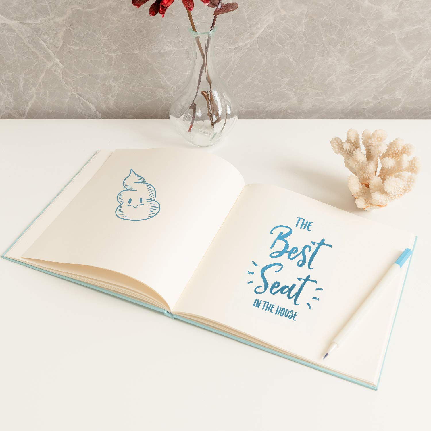 """Blank White Pages Blue Cover Calculs Bathroom Guest Book 8.5/"""" Square Guest Registry Books for Relax"""