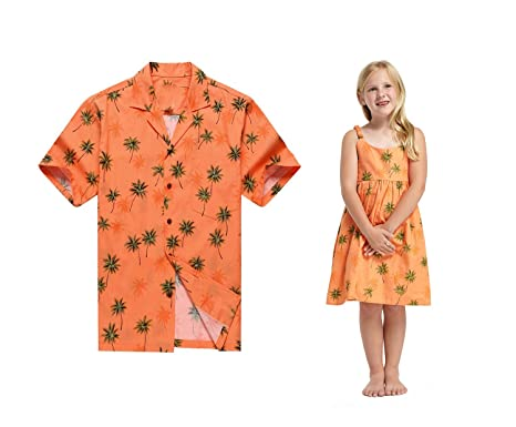 3a57f0ea Made in Hawaii Matching Father Daughter Luau Shirt Elastic Strap Dress in  Orange with Green Palm at Amazon Men's Clothing store:
