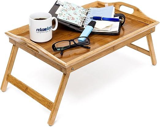 Betttablett Bambus dunkelbraun Tabletttisch Betttisch Serviertablett Holztablett