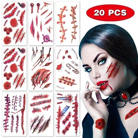 Pegatinas de tatuaje temporal impermeables de cicatriz realista para accesorios de maquillaje