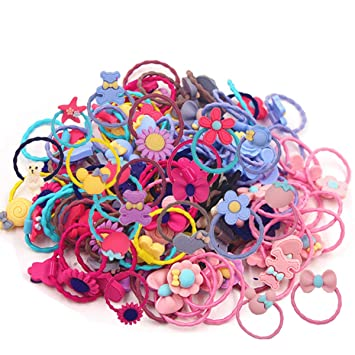 50 Mixed Color Soft Fabric Elastic Hair Ties Rope Band Mini Ponytail Holder