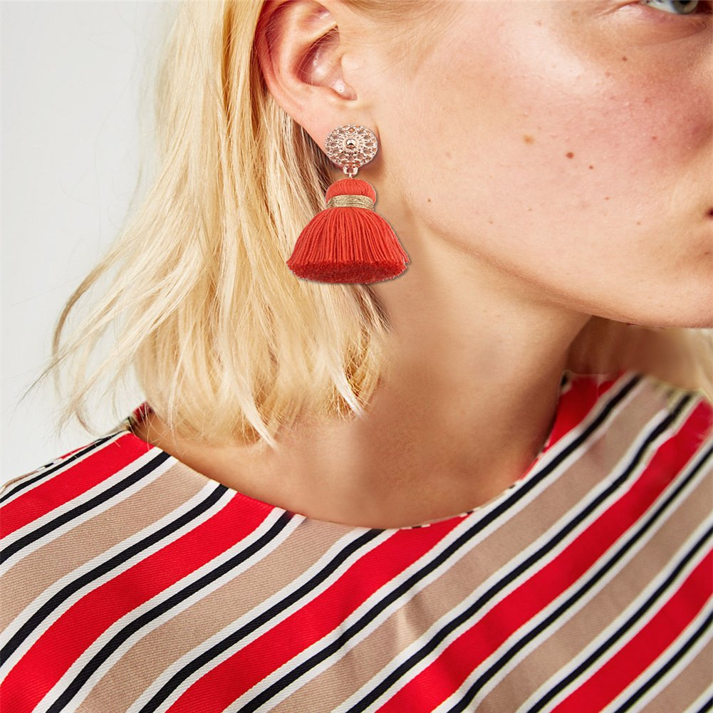 Aibelly Bohemian Retro Ethnic Short Tassel Statement Chandelier Dangle Drop Earrings New Fashion Handmade Thread Stud Earrings for Woman Girls by Aibelly (Image #2)