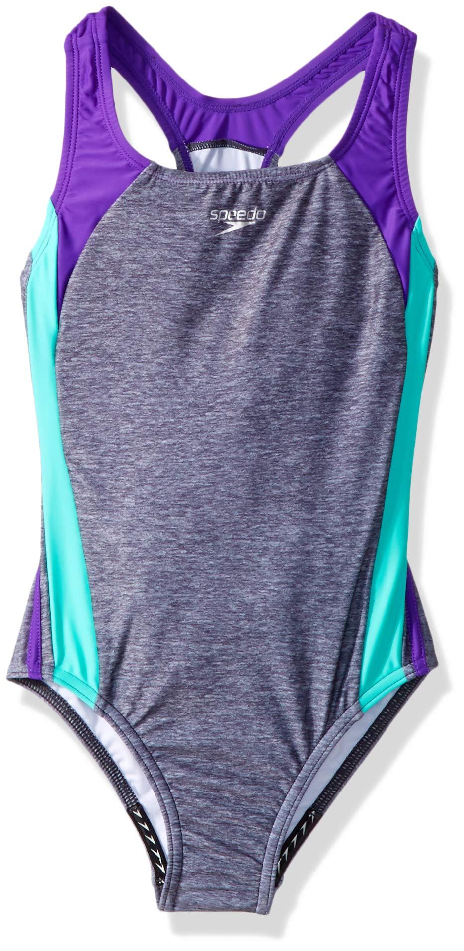 Speedo Solid Infinity Splice One Piece Swimsuit, Heather Grey, Size 7