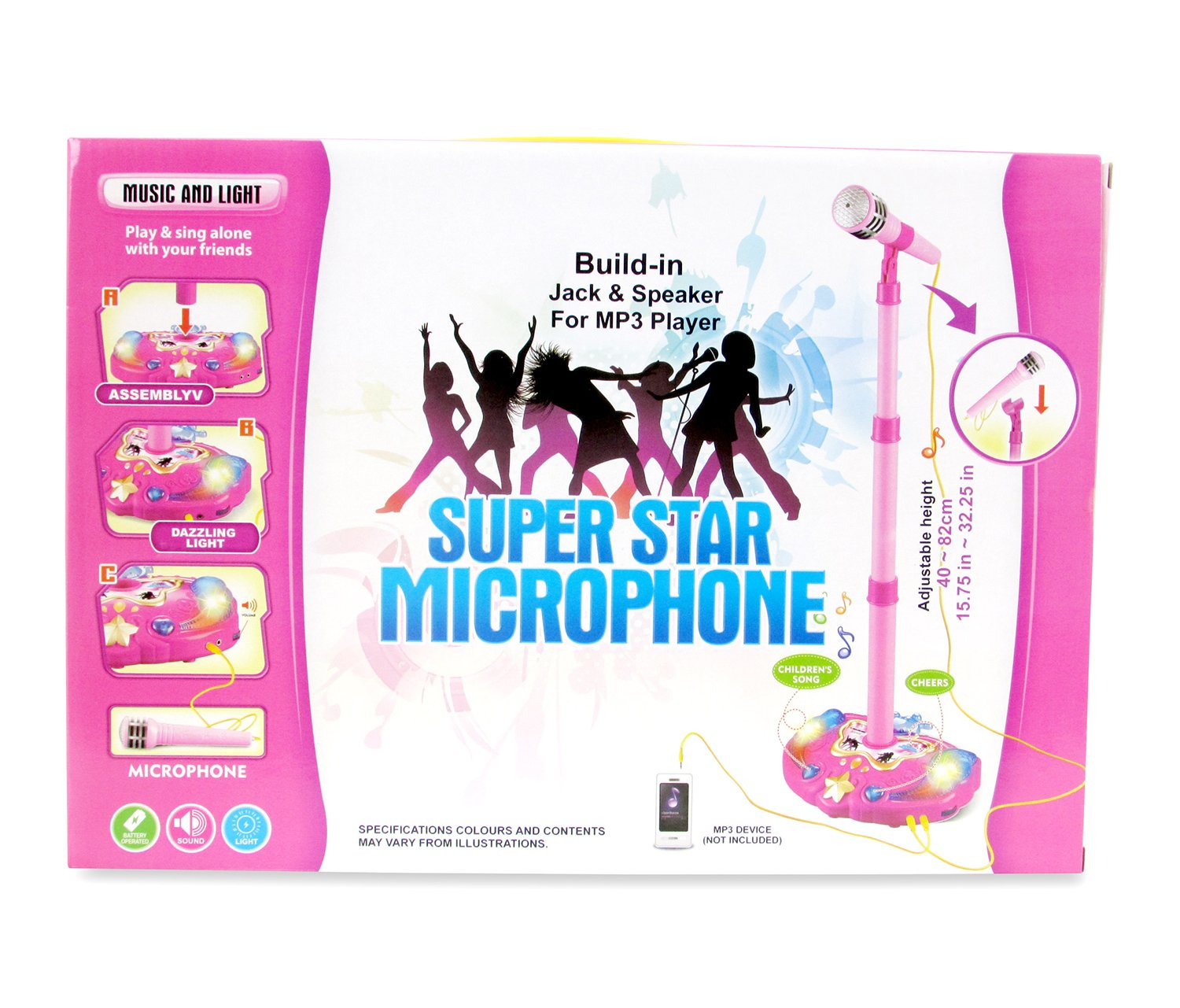 Mozlly Pink and Blue Children Karaoke Mic Set with Stand Music by Mozlly (Image #2)