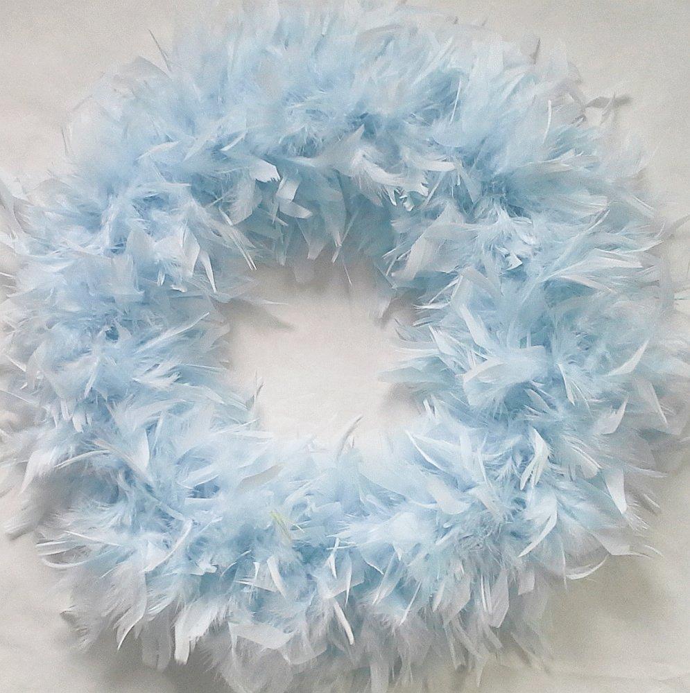 Fluffy XL LIGHT BLUE FEATHER WREATH…Gorgeous Chandelle Accent Wreath!