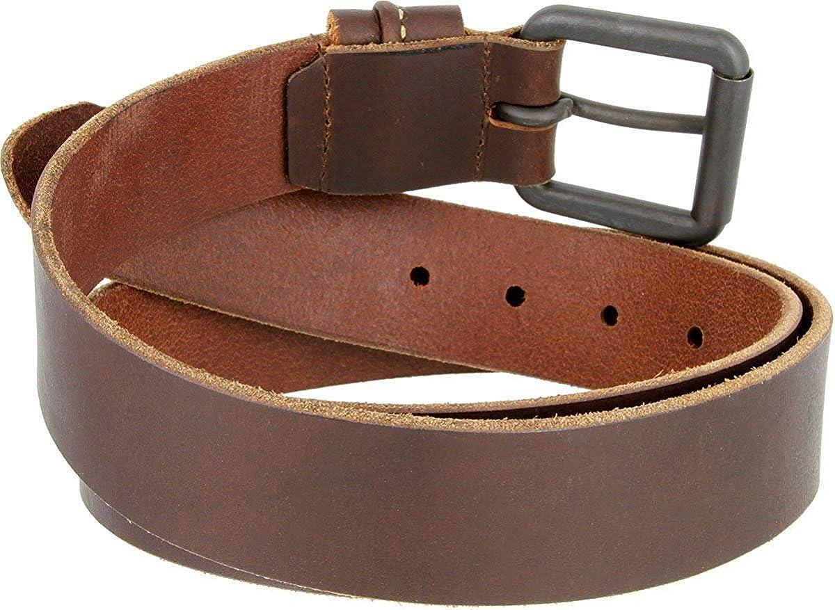 Hagora Men 1.5 Wide Brown Full Grain 1 Piece Genuine Leather Black Buckle Belt