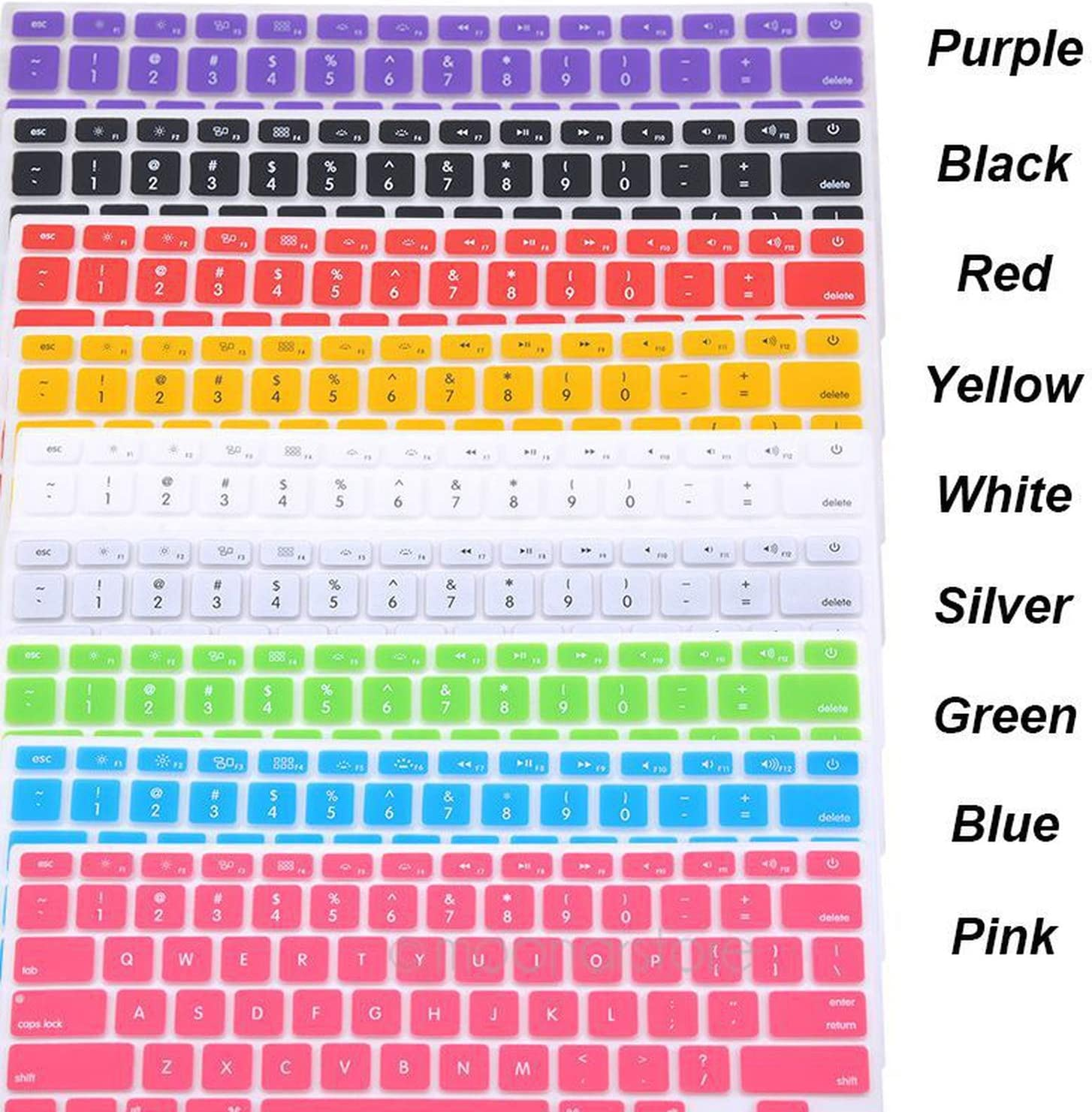 Laptop Accessories 9 Colors Silicone Laptop Keyboard Cover Skin for MacBook Pro MAC 13 15 Air 13 Soft Keyboard Stickers-Black