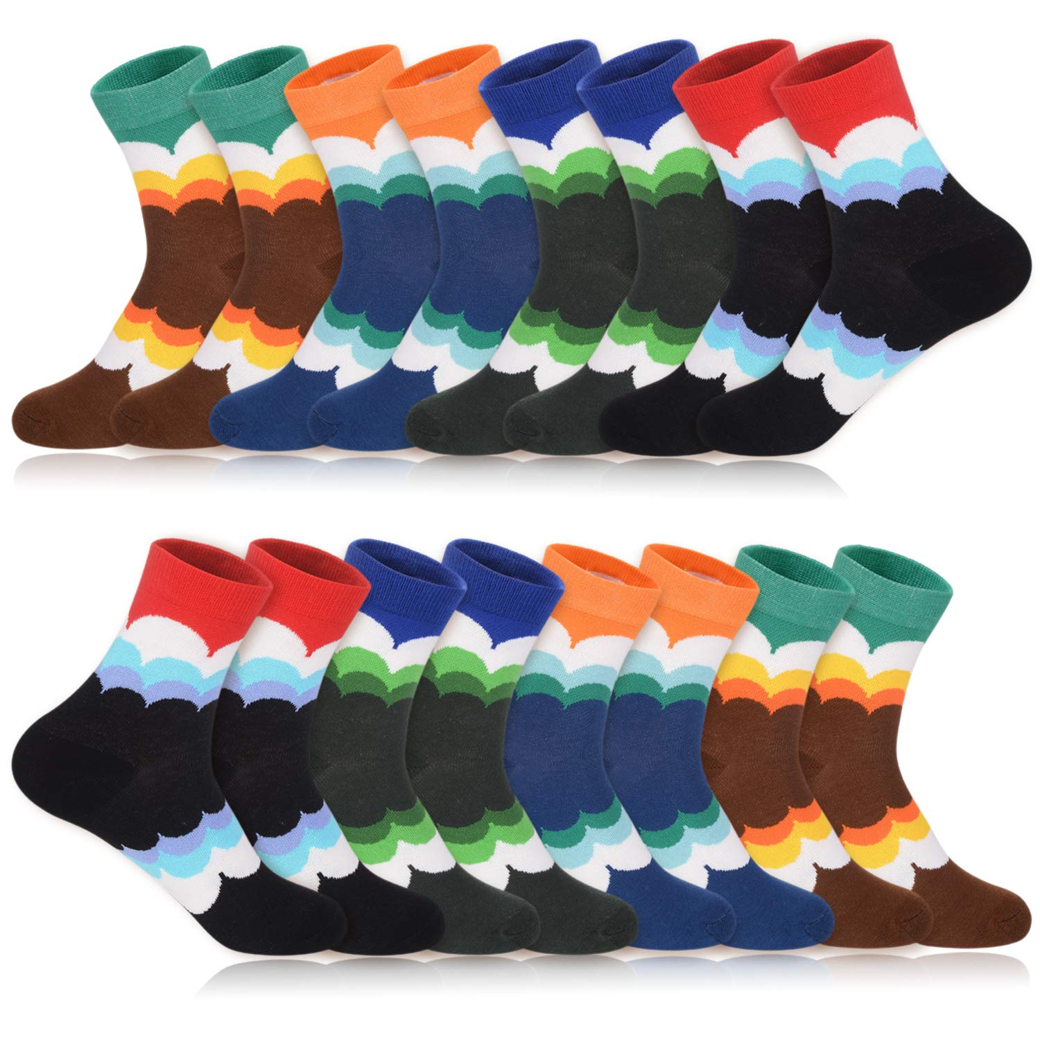 Willin colorful Combed Cotton Socks Pattern for Women and Girls (8 Pairs)