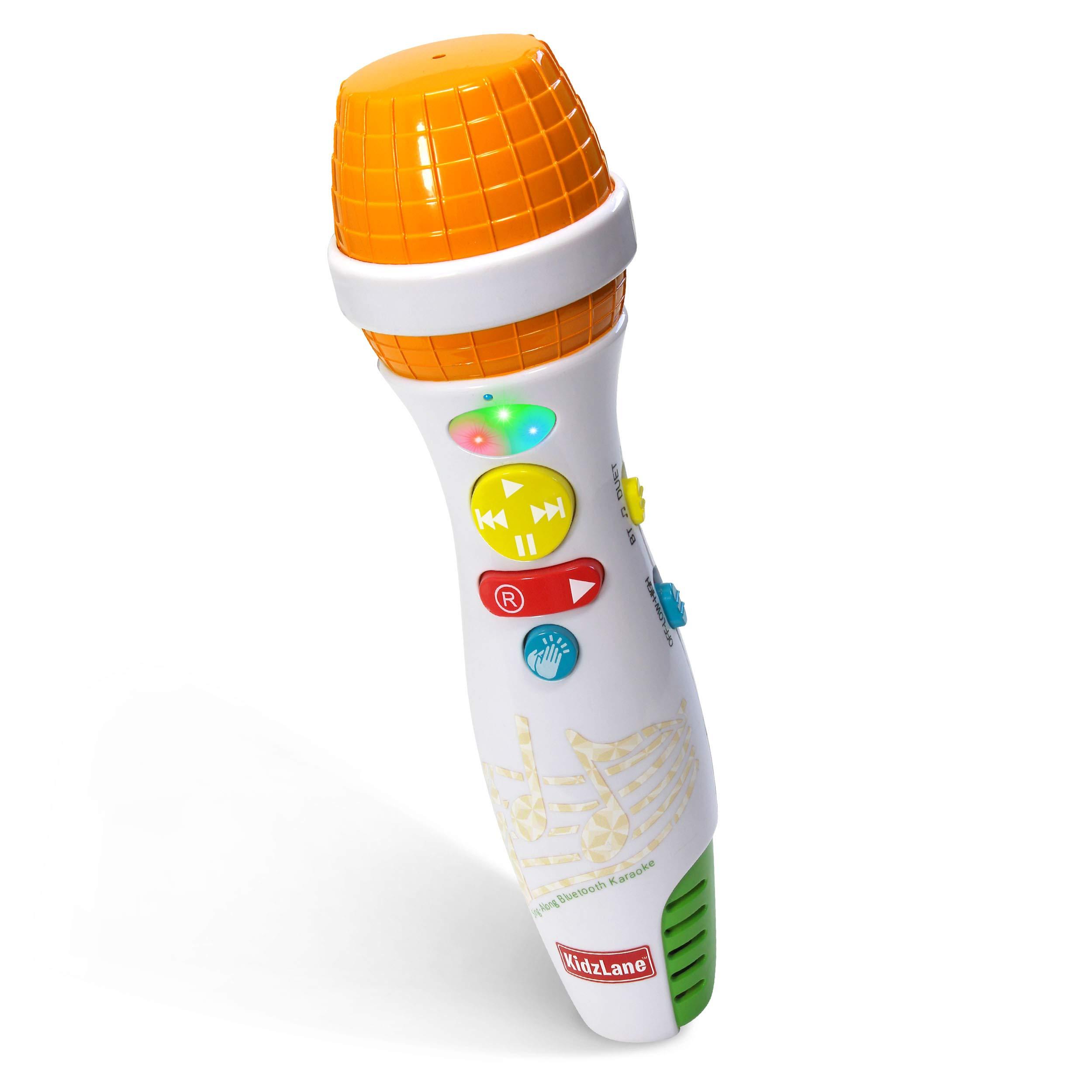 Kidzlane Kids Karaoke Microphone with Bluetooth, Voice Changer, and 10 Built-in Nursery Rhymes