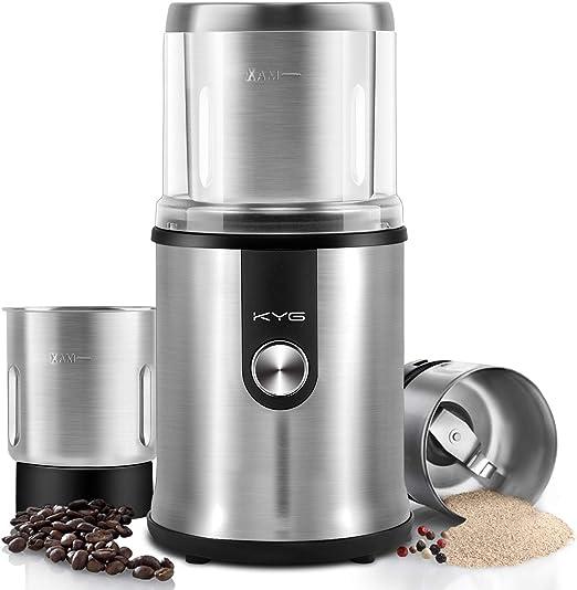 KYG Molinillo de café eléctrico para uso seco/ húmedo con 2 vasos ...