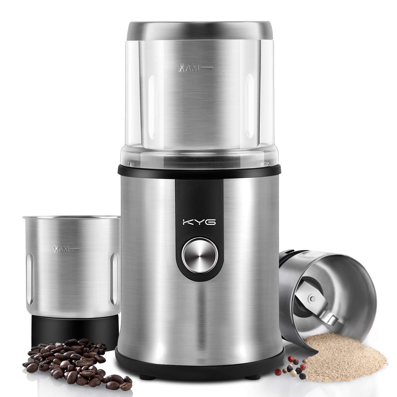 KYG Molinillo de café eléctrico para uso seco/húmedo con 2 vasos extraible Molinillo para especias semillas pimientas albahacas ajos aguacate cuchillas de ...
