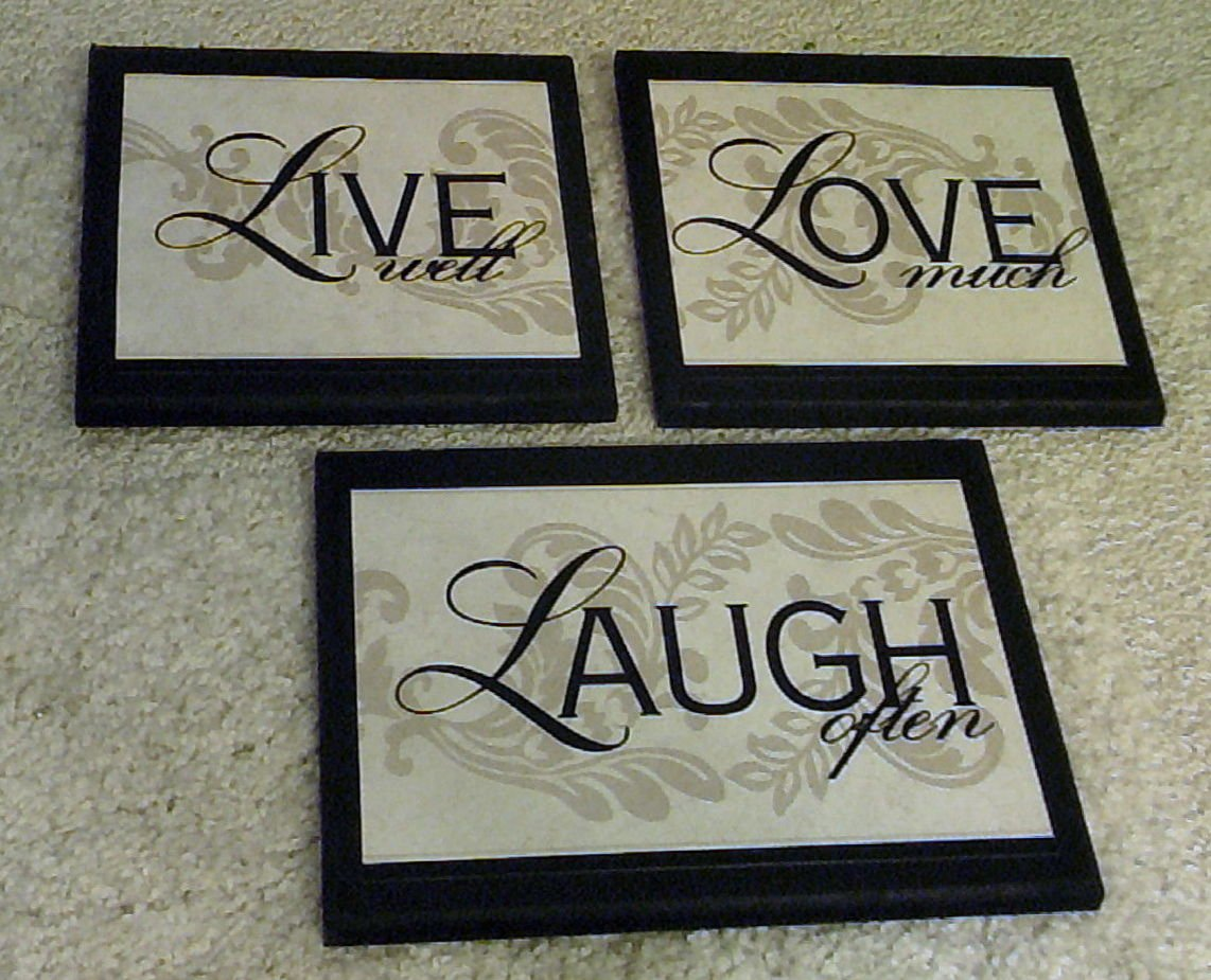 Amazon.com: Live Love Laugh Wall Decor Plaques, 3 Piece Set: Home U0026 Kitchen