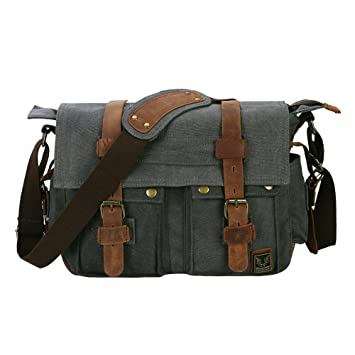 Peacechaos Messenger Bag Leather Canvas Shoulder Bookbag Laptop Bag + Dslr  Slr Camera Canvas Shoulder Bag ac756c2071
