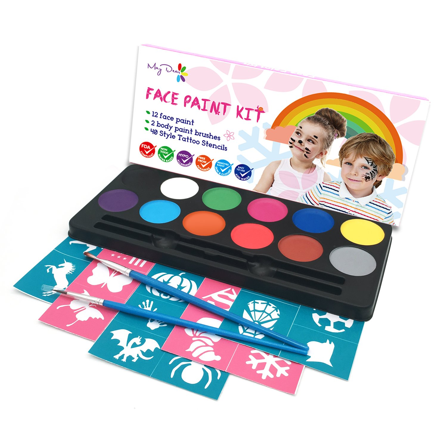 Maydear Face Paint Kit for Kids with Safe and None Toxic FDA Compliant Water Based 12 Color Palette Body Paint with 40 Stencils and 2 Brushes
