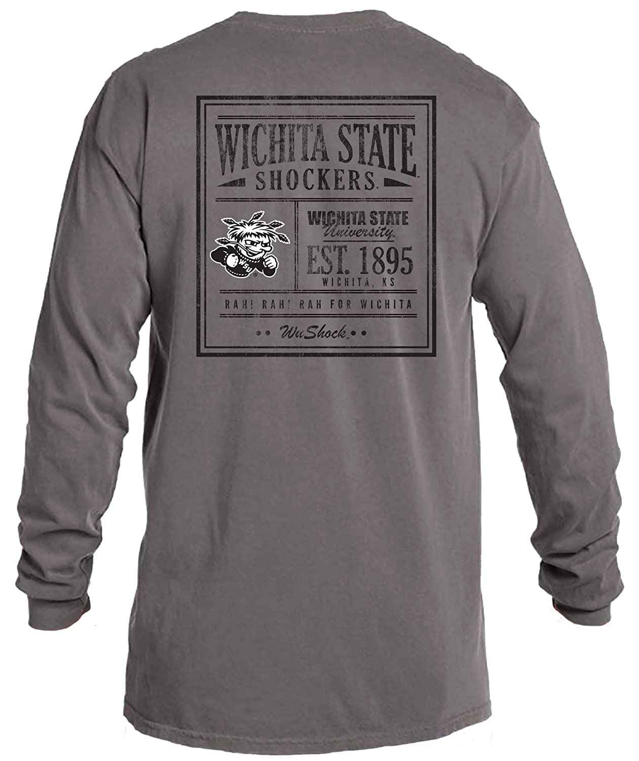 f9927e58 Amazon.com : Image One NCAA Vintage Poster Comfort Color Long Sleeve T-Shirt  : Sports & Outdoors