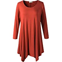 URBAN K Womens Plus Size Short and 3/4 Sleeve Modal Spandex Casual Tunic Knitted Top Plus Sizes