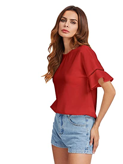 MAKEMECHIC Women s Loose Short Sleeve Round Neck Solid Summer T-Shirt Tops  Blouse at Amazon Women s Clothing store  bd2a3321c