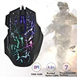 Gaming Mouse Wired, 6 Programmable Buttons, 5500 DPI Adjustable, Comfortable Grip Ergonomic Optical PC Computer Gaming Mice with Fire Button
