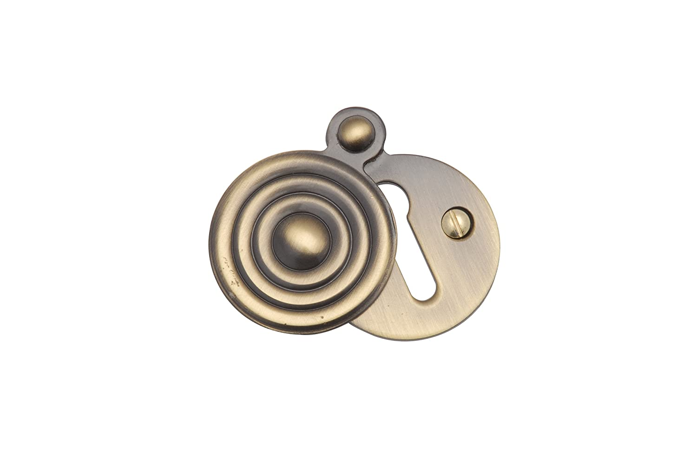 Tranche Striée Recouvert Écusson - Chrome Satiné Heritage Brass