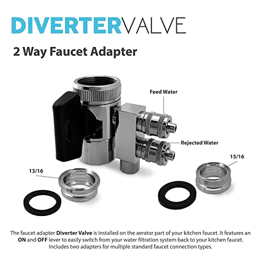 faucet aerator with on off switch. Express Water Undersink Chrome 2 Way Faucet Adapter Diverter Valve Counter  Top Reverse Osmosis RO Filter System 13 16 15 Aerators Amazon