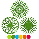 ME.FAN 3 Set Silicone Multi-Use Flower Trivet Mat - Premium Quality Insulated Flexible Durable Non Slip Coasters Hot Pads Green