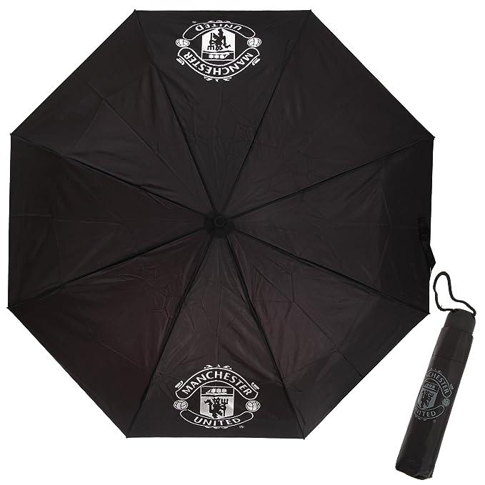Manchester United FC - Paraguas oficial compacto plegable Modelo Crest fútbol (Talla Única/Negro): Amazon.es: Ropa y accesorios