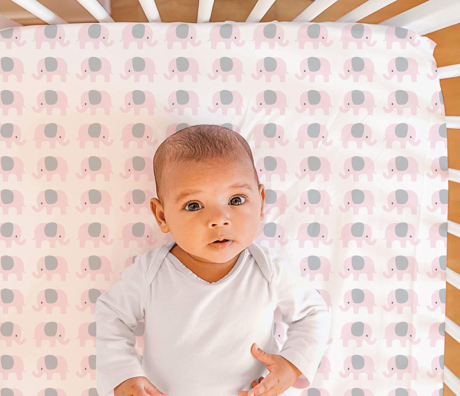 Peanutshell Pink Elephant Cute Fitted Sheets for Newborn Babies