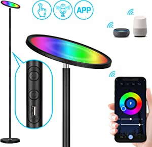 Smart WiFi Floor Lamp, Adecorty 25W/2000LM Super Bright LED Floor Lamp Works with Alexa Google Home, RGBW Dimmable LED Torchiere Floor Lamp for Living Room Bedroom Office Reading, Touch & APP Control
