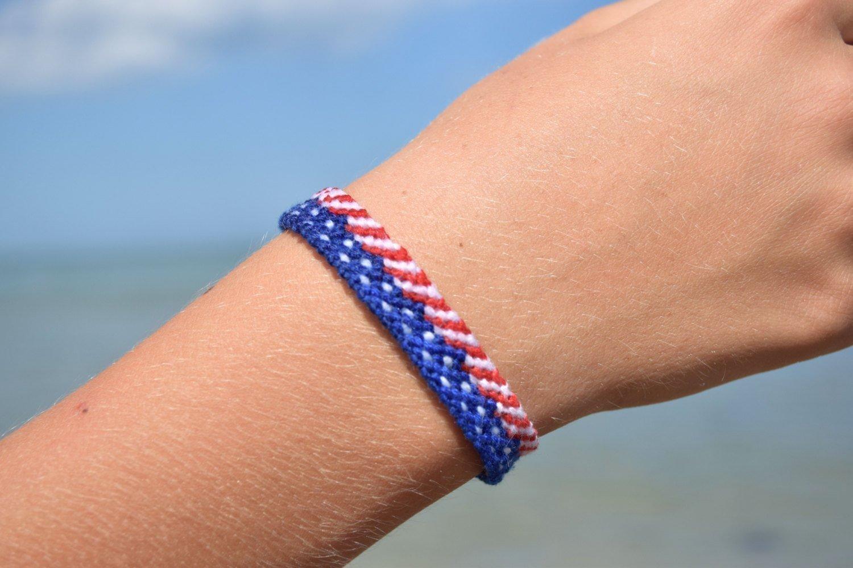 18d8367ba10e0 Amazon.com: USA bracelet American flag jewelry Patriotic Memorial ...