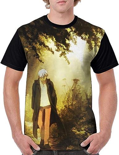 Curtis J Donofrio Mushishi-Ginko Anime Cartoon Print Comfortable Shirts Short Sleeve Shirt for Men