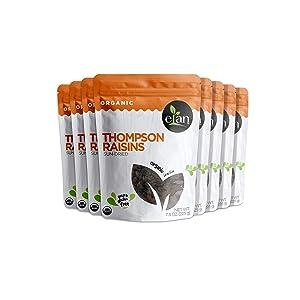 ELAN Organic Sun-Dried Thompson Raisins 8 Pack, 63.2 Oz