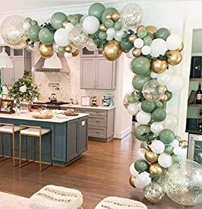 Oopat DIY Sage Green and White Balloon Garland Arch Kit for Baby Shower Bridal Shower Wedding Birthday Hen Party Christmas Decoration