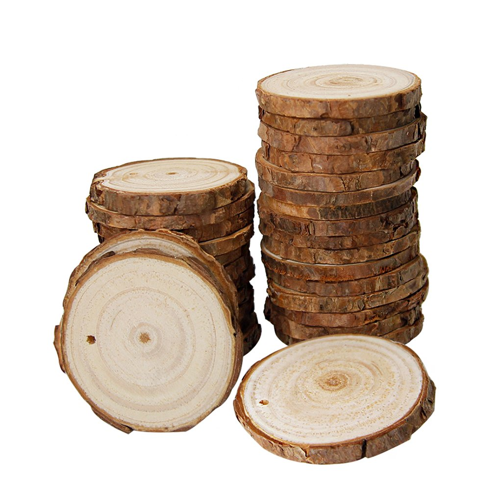 50 Pcs Nature Wood Slices,2 to 2.5 inches,Unfinished Predrilled with Holes with 33 Feet Natural Jute Twine for Home Hanging Crafts and Christmas Ornaments