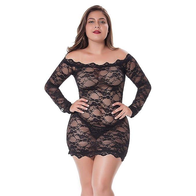 2ad2843ae33 Moonfate Women Babydoll Lingerie Plus Size Chemise Floral Lace Off Shoulder  Sheer Bodysuit Sexy Lingerie (