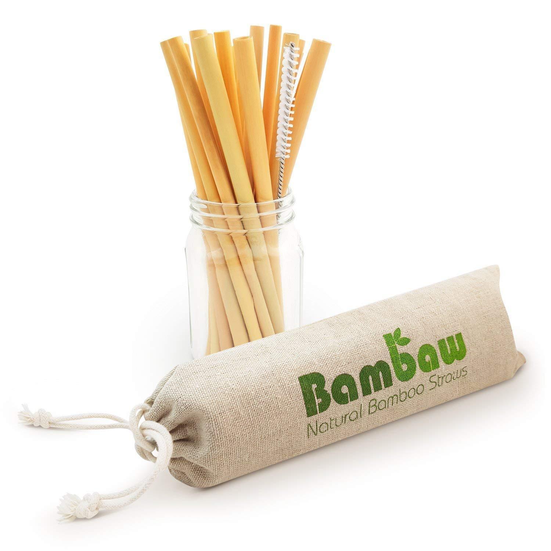 Bambaw Pajitas de Bambú | Pajitas Reutilizables | Fabricadas en Bali | Pack 12 Pajitas Biodegradables