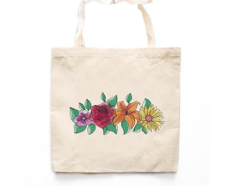 Screen Printed Tote Bag Eco-Friendly Canvas Tote Bag Market Flowers Tote Bag