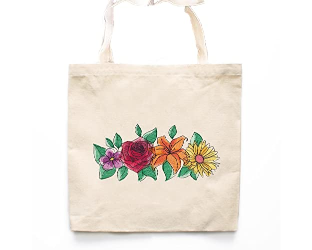 18625c9159 Amazon.com  Boho Flowers Tote Bag-Flower Market Bags-Canvas Tote Bag-Grocery  Bag-Book Bag-Embroidered Market Bag  Handmade