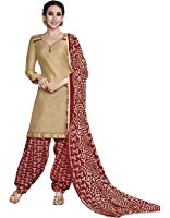 EthnicJunction Women's Glaze Cotton Patiala Style Unstitched Dress Material (EJ1097-106_Light Brown)