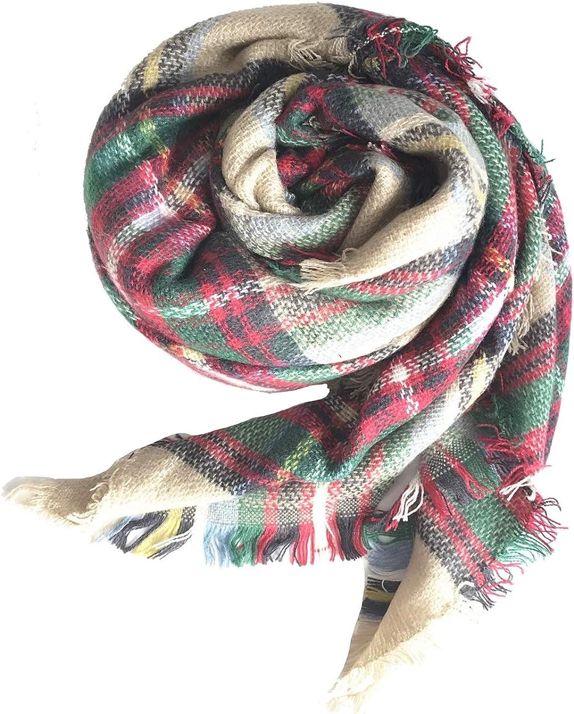 Kariert /übergro/ßer Winterschal Quadratisch Deckenschal Karo Tartan Streifen Plaid Muster Herbstschal Poncho Long Stole LADES Damen Winter Schal