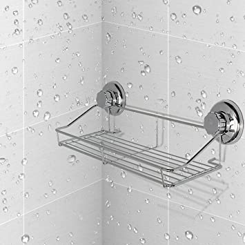 Shower Shelf TAPCET Bathroom Wall Shelf Vacuum Suction Cup Shower Caddy  Stainless Steel Space Saving